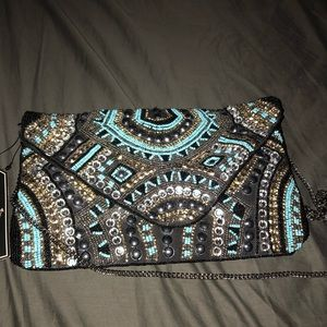 Gorgeous beaded purse w/  chain  strap or clutch